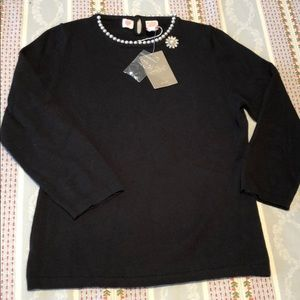 Anthropologie Black Sweater with Pearl Detail